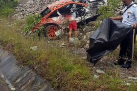 AFTERMATH: Mr See Lam Huat's Porsche after the crash.