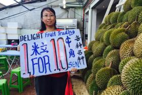 """Ms Vanessa Chua, owner of Delight Fruit Trading in Geylang, started her business to provide steady jobs for """"durian workers"""" who can't find work when the king of fruits is not in season for six months."""