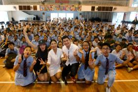 Elvin Ng and Belinda Lee gave a motivation talk to students at the MacPherson Secondary School