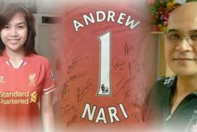Maira Elizabeth Nari and her father Malaysia Airlines MH370 chief steward Andrew Nari are loyal Liverpool fans.