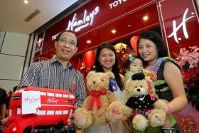 WINNERS: (From left) Mr Peter Lo, Madam Rachel Yeo and Madam Soh Hui Ling won a visit to the media preview of the first Hamleys store in Singapore via a Facebook contest held by Plaza Singapura.
