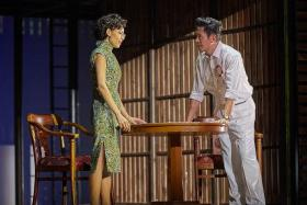 CONVINCING: Adrian Pang portrays Mr Lee Kuan Yew and Sharon Au plays Madam Kwa Geok Choo in the LKY Musical.