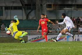 """""""The issue with Sabah has been settled, and now, not only do I want to win the S.League title, but I also hope we can win the RHB Singapore Cup."""" — Fazrul Nawaz (above, in white)"""
