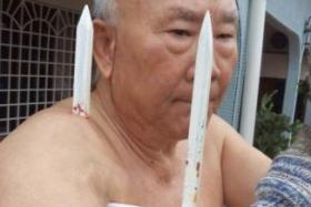 Amazing survivor: The 68-year-old fell off a ladder while gardening and his shoulder was impaled on a fence.