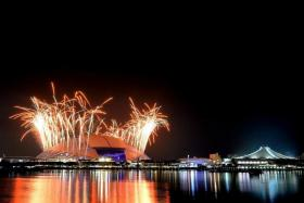 SPECTACULAR SHOW: A dazzling fireworks display at the National Stadium signalling an end to last month's SEA Games, which was held in Singapore successfully.