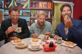 ROCKING: Michael Learns To Rock members (from left) Kare Wanscher, Jascha Richter and Mikkel Lentz enjoy local treats at Nanyang Old Coffee.