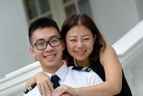 PROUD: Midshipman Aloysius Oh and his mother, Madam Christina Ang.