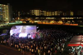 DRAWING CROWDS: A getai stage at Yishun Avenue 2 in 2013.