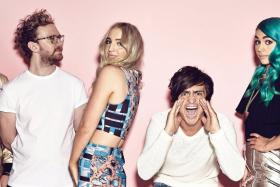 Australian indie pop band Sheppard (from left: Dean Gordon, Michael Butler, Emma Sheppard, George Sheppard, Amy Sheppard and Jay Bovino).