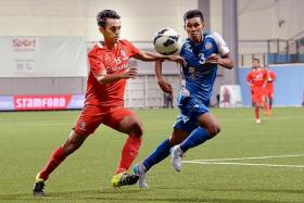 PURPLE PATCH: Shahdan Sulaiman (in red) and his LionsXII teammates are on a roll, having won six home games in a row.