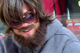 Cristiano Ronaldo disguised himself as a street performer in Madrid.