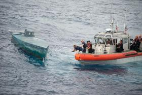 DRUG HAUL: The US Coast Guard intercepting the very valuable semi-submersible vessel in the Pacific Ocean last month.