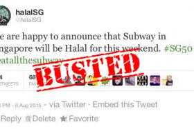 Muis has debunked a screenshot showing a fake tweet from halalSG that says fast food outlet Subway has been certified halal for National Day weekend.
