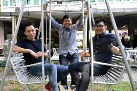 STARTING ANEW: (Above, from left) Mr Samuel Lim, Mr Tan Kay Aik and Mr Timothy Tan are featured in viral hit Home by Homes.