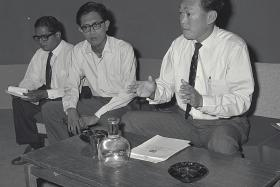 """MOMENTOUS: Singapore separated from Malaysia following an amendment to the Constitution approved unanimously by both Houses of Parliament under a certificate of urgency. At his press conference in Singapore, Prime Minister Lee Kuan Yew called on his people to remain firm and calm. His eyes brimming with tears, he declared: """"What has happened has happened. Everybody will have a place in Singaporeand will continue helping the Malays in competition with Umno""""."""