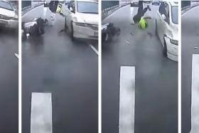 The Jurong accident was caught on the in-car cameras of one of the vehicles involved