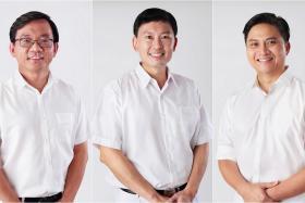 Mr Chong Kee Hiong (left), Mr Chee Hong Tat (center) and Mr Saktiandi Supaat are the three new People's Action Party candidates in Bishan-Toa Payoh GRC, replacing Mr Zainudin Nordin, Mr Hri Kumar Nair and Mr Wong Kang Seng.