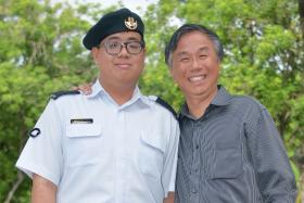 """""""I wanted to serve in the army because it's something my father and all my friends went through."""" - Mr Jeremy Yap (with his father Matthew) did not let his Asperger's Syndrome stop him from serving NS"""
