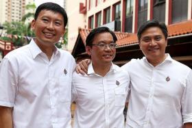 New People's Action Party candidates Chee Hong Tat, Chong Kee Hiong and Saktiandi Supaat.