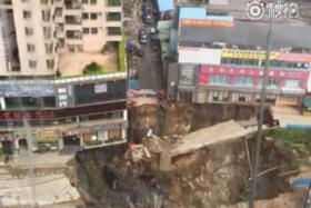 This is the fifth time that there's been a collapse in this area of Dongguan, China.