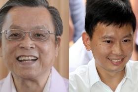 TAKING ISSUE: SingFirst's secretary general Tan Jee Say (left) has called Mr Chee Hong Tat 'inconsistent' after Mr Chee used Hokkien in his introductory speech even though he wrote against the learning of dialects six years ago.