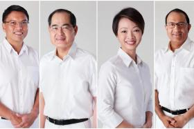 The People's Action Party's team in West Coast GRC: (from left to right) Mr Patrick Tay, Mr Lim Hng Kiang,  Ms Foo Mee Har and Mr S Iswaran.