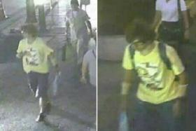 CCTV released by Thai police showing a man wearing a yellow T-shirt and carrying a backpack walking near the Erawan shrine, where a bomb blast killed 22 people on Monday, in Bangkok. They looking for this suspect.