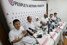 TEAM UNVEILED: (From left) Mr Desmond Lee, Mr David Ong, Madam Rahayu Mahzam, Mr Tharman Shanmugaratnam, Dr Tan Wu Meng and Mr Ang Wei Neng at a press conference at PAP HQ Clementi.