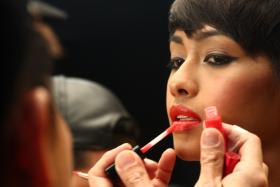 Selynna Norhisham getting her make up done by professionals from MAC Cosmetics.