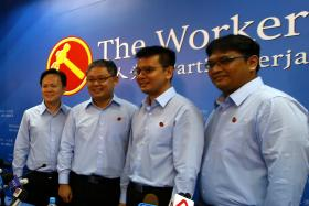 The Workers' Party introduced four candidates for GE2015 at its Syed Alwi Road headquarters yesterday. (From left) Mr Dylan Ng Foo Eng, Mr Koh Choong Yong, Mr Daniel Goh Pei Siong, Mr Redzwan Hafidz Abdul Razak.