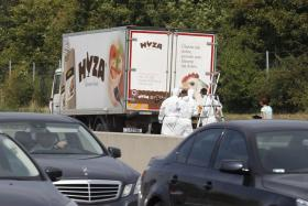 A forensic team inspects a poultry truck containing more the decomposing corpses of more than 70 migrants in Austria.