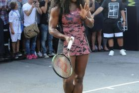 "SERENA SHINES: Serena Williams attending Nike's ""NYC Street Tennis"" event on Monday, a week before the 