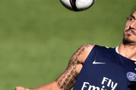 Paris Saint-Germain's Zlatan Ibrahimovic  during a training session