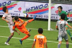 UNBEATEN IN AUGUST: Albirex (in grey, above) have not lost any of their six matches played this month, including their draw with Hougang last night.