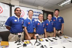SDP CANDIDATES: (From left) Mr Chirag Desai, Mr Wong Chee Wai, Mr Tan Jee Say, Mr Fahmi Rais and Mr Chiu Weng Hoe Melvyn are five of the ten candidates that will be contesting in the 2015 General Election under the SingFirst banner.