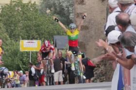 Daiva Tuslaite celebrates thinking she has crossed the finish line
