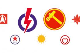 The symbols of the nine political parties that are contesting Singapore's general election for 2015.