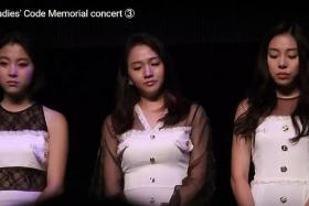TRIO: The three surviving members of Ladies' Code (from left) Zuny, Sojung and Ashley at a memorial gig at Tokyo's Shinagawa Stellar Ball on Aug 22 to honour their late members RiSe and EunB.