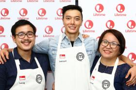 (From left) Woo Wai Leong, Lennard Yeong and Sandrian Tan are the Singaporean contestants among the 15 cooks from MasterChef Asia's inaugural season.
