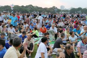 A sea of supporters turned out for the Workers' Party's first rally at the field near Blk 837 Hougang Central.