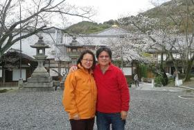 AWAY FROM POLITICS: The couple on holiday in Kyoto, Japan, last year (above).