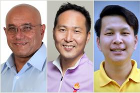From left: Mr Gurmit Singh, Mr Augustine Lee and Mr Andy Zhu of the WP, PPP and NSP are all in real estate.