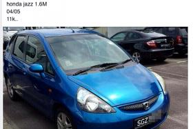TOO CHEAP TO BE TRUE: One of the many websites and Facebook pages that claims to sell scrapped vehicles from Singapore with fake registration and documents, such as this 10-year-old Honda Jazz costing RM11,000 (S$3,600).