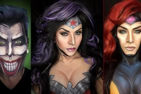 Cosmetologist Mr Argenis Pinal has turned himself into famous comic book characters such as the joker, Wonder Woman and Jean Grey.