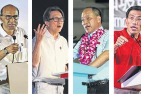 ENTHRALLING: (From left) People's Action Party's Lee Hsien Loong, Tharman Shanmugaratnam, Lim Swee Say, Workers' Party's Low Thia Khiang, Singapore Democratic Party's Chee Soon Juan and Paul Tambyah.