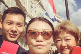 Voting: anthony chen (far left) with friends at singapore high commission in london. Photo: instagram/anthony chen