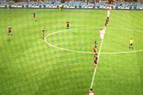 L'Hospitalet's Ruibal  far in Barcalona B's half as the match kick's off again