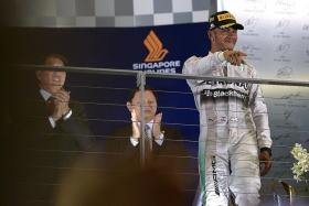 BACK TO BACK: Lewis Hamilton (above) will be hoping to repeat his victory at the Singapore Airlines Formula One Singapore Grand Prix last year.
