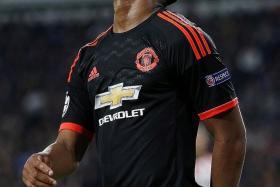CLOSE: Man United's Anthony Martial (above) can't hide his dejection as another goalscoring chance is wasted.