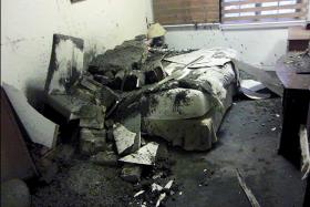 The bed Mr Geebian Lye, 69, the director of an interior design company, was lying on just seconds before concrete came cascading down. A large slab had landed on the middle of the bed.